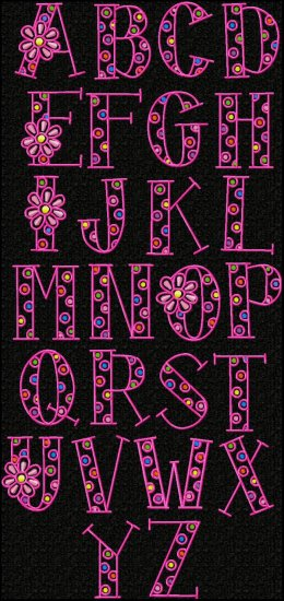 "Monogram Set #15 ""Funky Flowers"" - Click Image to Close"