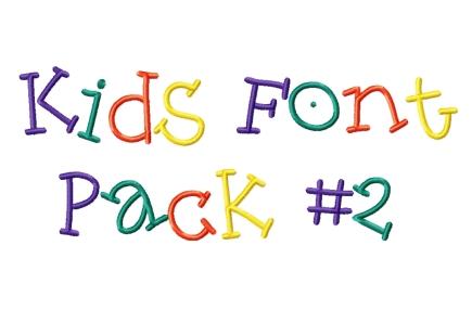 Kid Font Kids font pack #2 - 4x4 hoop